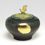 134-08 小鳥香炉 緑金色