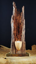 Altholz Skulptur mit Teelicht