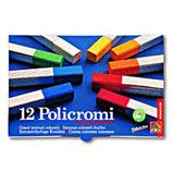 Gessi policromi, tipo, quadrato formato 13x13x80 mm, con fascetta autoadesiva, in scatola, di cartone da 12 colori.,