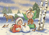 Postkarte Mongolischer Wintergruss