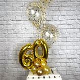 "Zahlenballon-Aufsteller mit 3 Konfettiballons - Ballonsäule - befüllt mit Helium - beschwert mit einem Ballongewicht - "" Gold Konfetti""-"