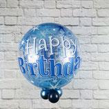 "Helium-Ballon ""Happy Birthday"" Sterne blau, ca. 45cm Ø"