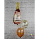 """Ballonsäule """"Sprudelnde Sektflasche rosegold"""" mit 3 Heliumballons - beschwert mit einem Ballongewicht -"""