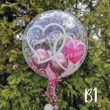 """Luftballons zur Hochzeit  """"transparent"""" Bubble - befüllt mit  Helium - beschwert mit einem Ballongewicht - ca. 55cm Ø"""