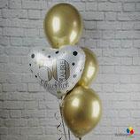 """Goldene Hochzeit - Ballonsäule mit 4 Heliumballons - befüllt mit Helium - beschwert mit einem Ballongewicht - """" 50 Jahre glücklich Verheiratet"""""""