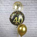 "3er Ballonsäule - befüllt mit Helium - beschwert mit einem Ballongewicht - "" Gold Konfetti""- ca. 180 cm hoch"