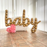 Ballon-Mosaik-Rahmen für Ballondekoration - Baby-Boy-Girl-Schriftzug  - ca. 150cm breit x  97 cm hoch