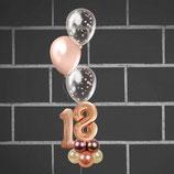 "Zahlenballon-Aufsteller mit 3 Konfettiballons - Ballonsäule - befüllt mit Helium - beschwert mit einem Ballongewicht - "" Rosegold Konfetti""-"