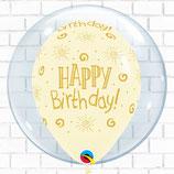 """Helium-Ballon Happy Birthday """"Seifenblase elfenbein"""", ca. 40cm Ø"""