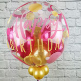 "Helium-Ballon Happy Birthday mit kl. Ballons ""gold & pink"", ca. 45cm Ø"
