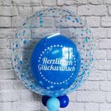 """Helium-Ballon Herzlichen Glückwunsch """"Konfetti blau"""", ca. 55cm Ø"""