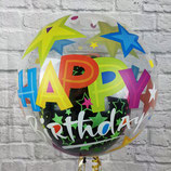 "Helium-Ballon ""Happy Birthday Sterne"" Ballon im Ballon bunt, ca. 45cm Ø"