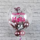 Helium-Ballon zur Geburt & Konfetti - mit personalisiertem Text, ca. 55cm Ø