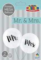 Mr & Mrs. Rieseballons - 60cm Ø-  weiß -gold -  100% Latex- unbefüllt