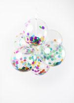 Konfetti-Luftballon - bunt - 30cm Ø, 6 Stück - Verpackt - unbefüllt