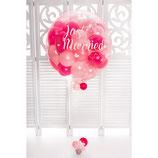 Hochzeitsgeschenk für das Brautpaar - Ballon-Explosion befüllt mit Heliumballons in den Lieblingsfarben des Brautpaares - ca. 75 cm Ø