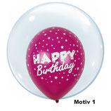 """Helium-Ballon zum Geburtstag - Happy Birthday Aufschrift  """"Globe Balloonia """", ca. 40cm Ø"""