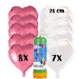 Helium Ballongas Einwegflasche mit 15 Herz-Folienballons 45cm Ø  und 4 Ballongewichte