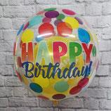 "Helium-Ballon ""Happy Birthday punkte""  Orbz bunt, ca. 45cm Ø"