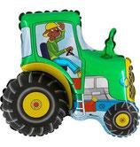 """Folienballon """"Traktor mit Hund """"grün, ca. 75cm hoch"""