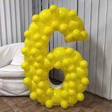 """Mosaik-Rahmen für Ballondekoration - Zahl """"6""""  - ca. 120cm hoch"""