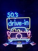 Neon Werbung 50´s Drive in Leuchtschild Licht Reklame Amerika Auto-Kino