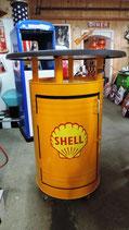 Shell Design Stehtisch auf feststellbaren Rollen inkl. Staufach 50er Jahre Gelb