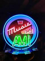 US Neon Ami Jukebox Musikbox Leuchtschild mit Hintergrund Deko Licht