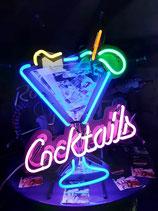 Cocktails with Ice-Cub Neon Licht Eyecatcher Werbung Eiswürfel Reklame