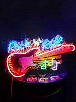 Rock`n & Roll Gitarre Neon Werbung Music Reklame Gitarren Deko Licht Noten
