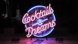 Cocktails & Dreams Neon Werbung Reklame Deko Bar Pup Tresen Partyraum