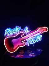 Rock & Roll Gitarre Neon US Reklame Gitarren Laden Geschäft Eyecatcher