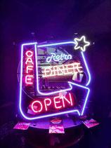 Retro Diner Cafe Open USA Neon Werbung Licht Gastro Leuchtreklame
