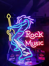 Rock Music Gitarren Spieler Rock Musiker Neon Werbung Gitarren Shop Eyecatcher