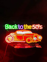 Neon Werbung Back to the 50`s mit dem Hot Rod USA Leuchtschild Reklame