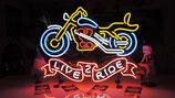 Motor-Bike US Neon Werbung Reklame Messe Event Motorrad Shop Deko Licht