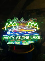 US Neon Werbung Party At The Lake Schild Boot Reklame Messe Event Feier