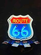 Neon Werbung Route 66  Schild mit Hintergrund Reklame Diner US Interstate