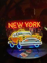 Checker Taxi Skyline New York Schild Yellow Cab Neon Licht Werbung Reklame