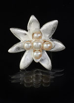 Silber Perl Ring Blume