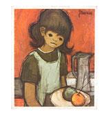 60er Mini Wandbild Jaklien Moerman Mädchen mit Obstteller