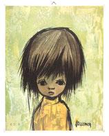 60er Wandbild Jaklien Moerman Mädchen mit gelbem Rollkragenpullover