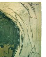 60er Wandbild Jaklien Moerman Frau mit Sonnenblumen