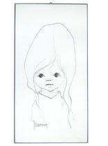 60er Wandbild Jaklien Moerman Portrait Grau Weiß