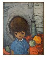 60er Wandbild Jaklien Moerman Mädchen mit Orange und Apfel