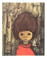 60er Wandbild Jaklien Moerman Mädchen mit rotem Rollkragenpullover