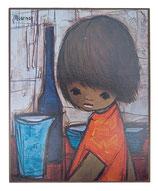 60er Wandbild Jaklien Moerman Mädchen am Tisch mit rotem Shirt