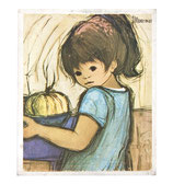 60er Mini Wandbild Jaklien Moerman Mädchen mit Kürbis