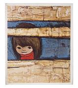 60er Mini Wandbild Jaklien Moerman Mädchen hinter Holzzaun