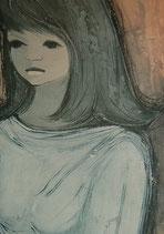 60er Wandbild Jaklien Moerman Frau mit Handtasche